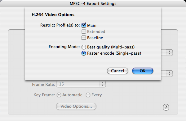 H.264 Video Options