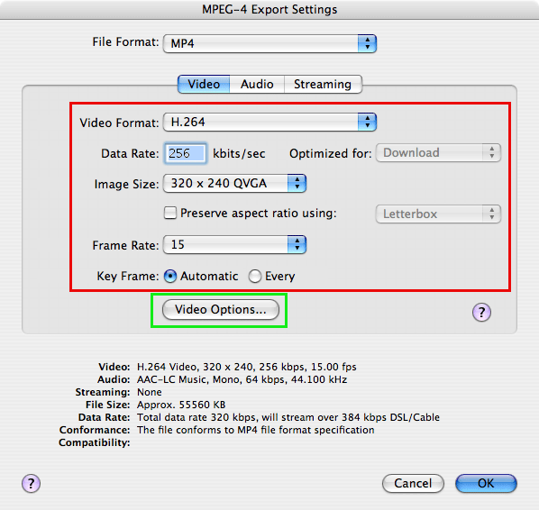 MP4 video conversion settings