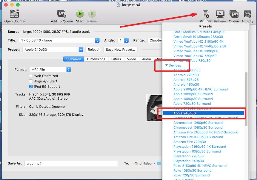 Select Apple240p30 preset